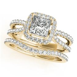 1.71 CTW Certified VS/SI Princess Diamond 2Pc Set Solitaire Halo 14K Yellow Gold - REF-446W5H - 3134