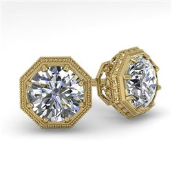 1.05 CTW Certified VS/SI Diamond Stud Earrings 18K Yellow Gold - REF-168M2F - 35953