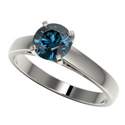 1.25 CTW Certified Intense Blue SI Diamond Solitaire Engagement Ring 10K White Gold - REF-179T3X - 3