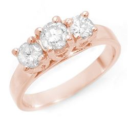 1.50 CTW Certified VS/SI Diamond 3 Stone Ring 14K Rose Gold - REF-204N4Y - 10947