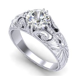 1 CTW VS/SI Diamond Solitaire Art Deco Ring 18K White Gold - REF-315R2K - 36908
