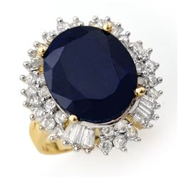 16.66 CTW Blue Sapphire & Diamond Ring 14K Yellow Gold - REF-190F4M - 12935