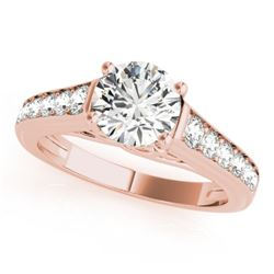 1 CTW Certified VS/SI Diamond Solitaire Wedding Ring 18K Rose Gold - REF-132T8X - 27502