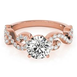 0.90 CTW Certified VS/SI Diamond Solitaire Ring 18K Rose Gold - REF-131F3M - 27853