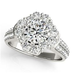 2 CTW Certified VS/SI Diamond Solitaire Halo Ring 18K White Gold - REF-270R2K - 26706