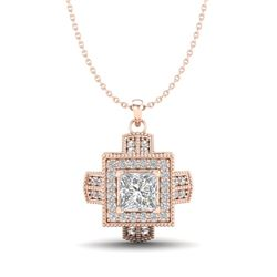 0.84 CTW Princess VS/SI Diamond Micro Pave Necklace 18K Rose Gold - REF-149N3Y - 37191