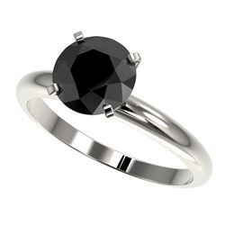 2 CTW Fancy Black VS Diamond Solitaire Engagement Ring 10K White Gold - REF-54X2T - 32935