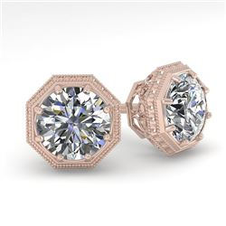 1.0 CTW VS/SI Diamond Stud Solitaire Earrings 18K Rose Gold - REF-147R3K - 35948