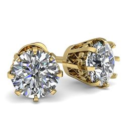 1.0 CTW VS/SI Diamond Stud Solitaire Earrings 18K Yellow Gold - REF-156M4F - 35665