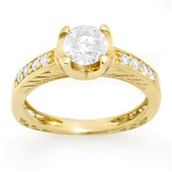 1.10 CTW Certified VS/SI Diamond Ring 14K Yellow Gold - REF-172R2K - 11659