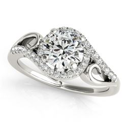 0.75 CTW Certified VS/SI Diamond Solitaire Halo Ring 18K White Gold - REF-121T5X - 26847