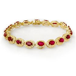12.75 CTW Ruby Bracelet 10K Yellow Gold - REF-118M2F - 11690