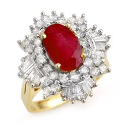 4.70 CTW Ruby & Diamond Ring 14K Yellow Gold - REF-145M5F - 13322