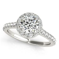 1.11 CTW Certified VS/SI Diamond Solitaire Halo Ring 18K White Gold - REF-198F4M - 26389