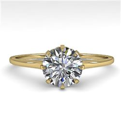 1.0 CTW Certified VS/SI Diamond Engagement Ring 18K Yellow Gold - REF-283F4M - 35740