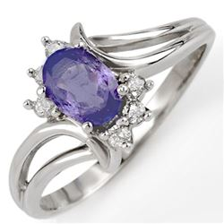 0.70 CTW Tanzanite & Diamond Ring 18K White Gold - REF-30T8X - 10191