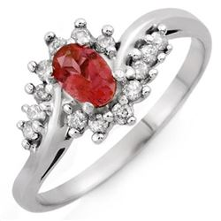 0.50 CTW Pink Tourmaline & Diamond Ring 14K White Gold - REF-31K3R - 10401
