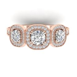 2.25 CTW Certified VS/SI Diamond 3 Stone Micro Halo Ring 14K Rose Gold - REF-236F2M - 30439