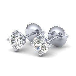 1.01 CTW VS/SI Diamond Solitaire Art Deco Stud Earrings 18K White Gold - REF-155X5T - 37298