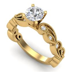 1.01 CTW VS/SI Diamond Solitaire Art Deco Ring 18K Yellow Gold - REF-218W2H - 37318