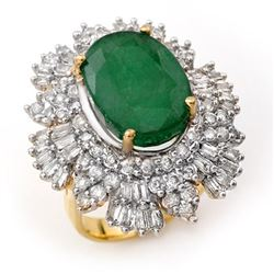 11.65 CTW Emerald & Diamond Ring 14K Yellow Gold - REF-370R4K - 12999