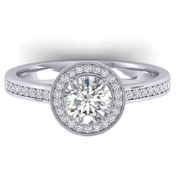 1.1 CTW Certified VS/SI Diamond Solitaire Micro Halo Ring 14K White Gold - REF-188H5W - 30351