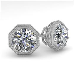 1.0 CTW VS/SI Diamond Stud Solitaire Earrings 18K White Gold - REF-147T3X - 35949