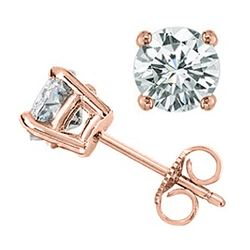 1.0 CTW Certified VS/SI Diamond Solitaire Stud Earrings 18K Rose Gold - REF-141W8H - 13531