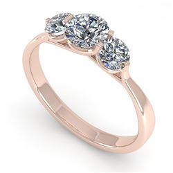 1 CTW Past Present Future Certified VS/SI Diamond Ring Martini 14K Rose Gold - REF-133T8X - 38343
