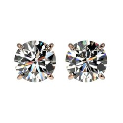 1.55 CTW Certified H-SI/I Quality Diamond Solitaire Stud Earrings 10K Rose Gold - REF-154K5R - 36604
