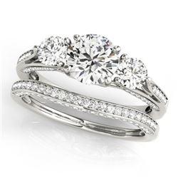 2.05 CTW Certified VS/SI Diamond 3 Stone 2Pc Wedding Set 14K White Gold - REF-447F3M - 32021