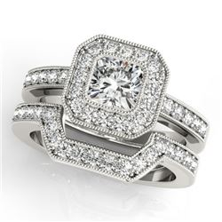 1.05 CTW Certified VS/SI Cushion Diamond 2Pc Set Solitaire Halo 14K White Gold - REF-176M2F - 31379