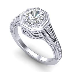 0.84 CTW VS/SI Diamond Solitaire Art Deco Ring 18K White Gold - REF-236W4H - 37091