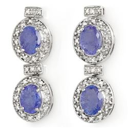 5.75 CTW Tanzanite & Diamond Earrings 14K White Gold - REF-154F5M - 14215