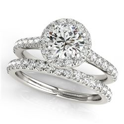 1.42 CTW Certified VS/SI Diamond 2Pc Wedding Set Solitaire Halo 14K White Gold - REF-212F4M - 30837