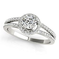 0.75 CTW Certified VS/SI Diamond Solitaire Halo Ring 18K White Gold - REF-118F9M - 26676