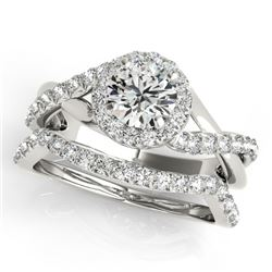 1.1 CTW Certified VS/SI Diamond 2Pc Wedding Set Solitaire Halo 14K White Gold - REF-142F2M - 31061