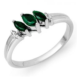 0.29 CTW Emerald & Diamond Ring 18K White Gold - REF-31R5K - 13520