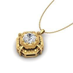 0.75 CTW VS/SI Diamond Art Deco Stud Necklace 18K Yellow Gold - REF-202R5K - 36880