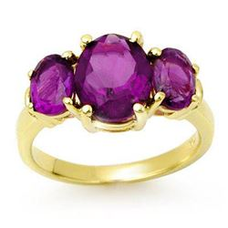 6.15 CTW Amethyst Ring 10K Yellow Gold - REF-31H5W - 13693