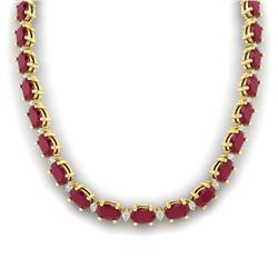 71.85 CTW Ruby & VS/SI Certified Diamond Eternity Necklace 10K Yellow Gold - REF-563T6X - 29516