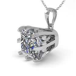 1 CTW Certified VS/SI Princess Diamond Necklace 18K White Gold - REF-280H2W - 35718