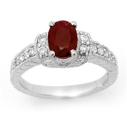 2.13 CTW Ruby & Diamond Ring 18K White Gold - REF-81H6W - 13902