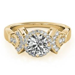 1.56 CTW Certified VS/SI Diamond Solitaire Halo Ring 18K Yellow Gold - REF-506X9T - 26951