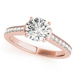 1.5 CTW Certified VS/SI Diamond Solitaire Ring 18K Rose Gold - REF-385F6M - 27529