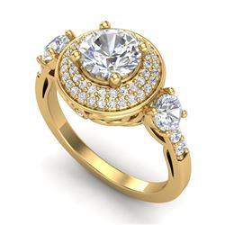 2.05 CTW VS/SI Diamond Solitaire Art Deco 3 Stone Ring 18K Yellow Gold - REF-490R9K - 37264