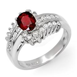 1.60 CTW Ruby & Diamond Ring 18K White Gold - REF-87H6W - 11893