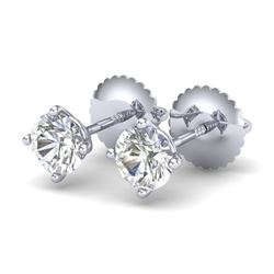0.65 CTW VS/SI Diamond Solitaire Art Deco Stud Earrings 18K White Gold - REF-97N3Y - 37295