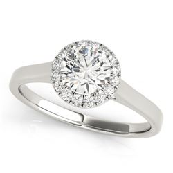 0.58 CTW Certified VS/SI Diamond Solitaire Halo Ring 18K White Gold - REF-126F5M - 26587