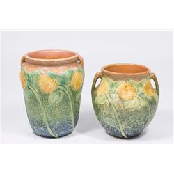2 Roseville Sunflower Vases